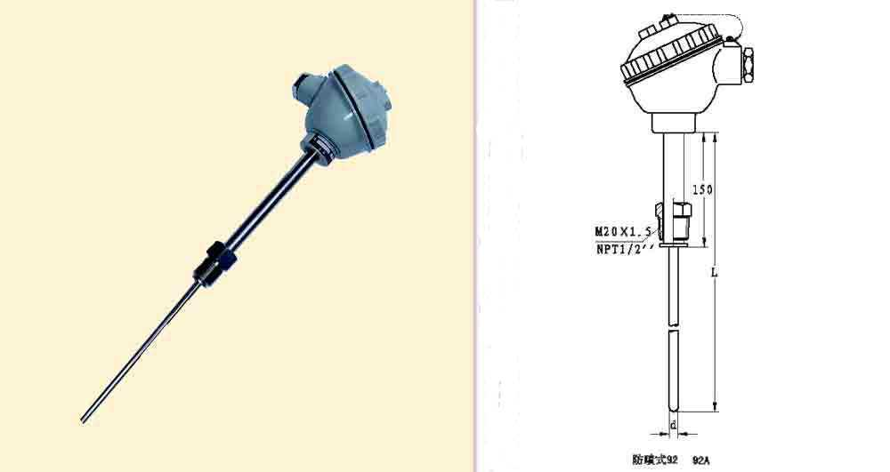 活动螺纹管接头装配式热电偶(防水式)